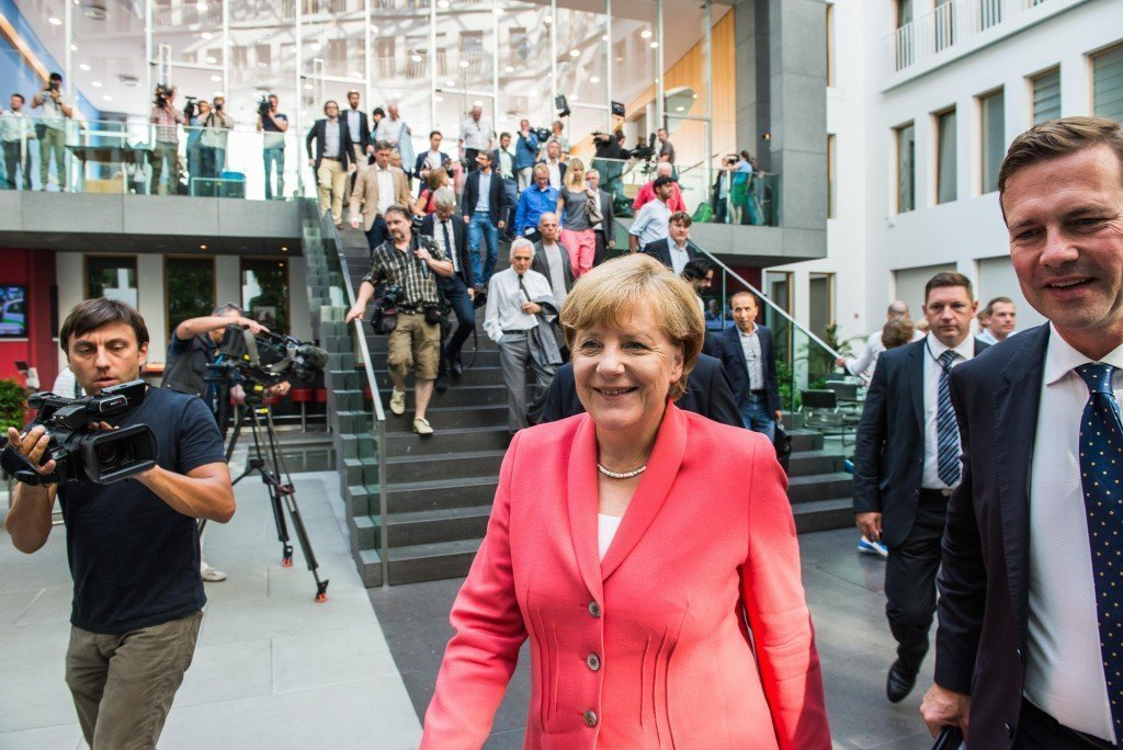 Angela Merkel na haar beroemde persconferentie waar ze zei: 'Wir schaffen das'. Foto: Pieter Heijboer
