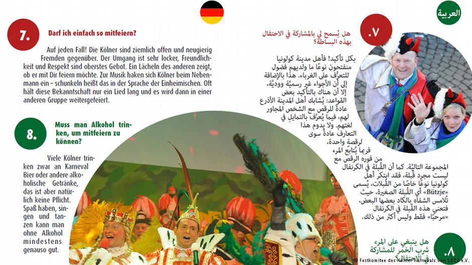 Uitleg van carnaval voor vluchtelingen. Beeld: DW