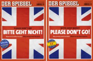 Twee covers van de Duits-Engelse Spiegel Brexit-special